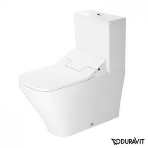 Duravit DuraStyle floor-standing, close-coupled washdown toilet with SensoWash® Slim seat, set white, cistern with right or left supply