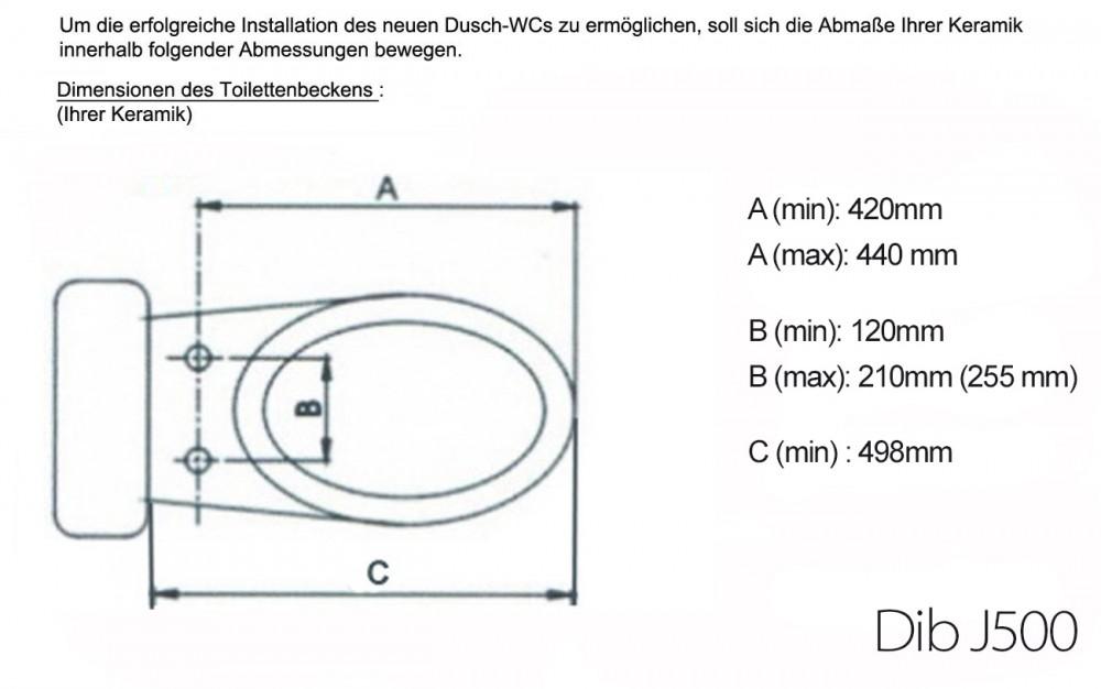 Dib daewon j500  japan toilet dimensions