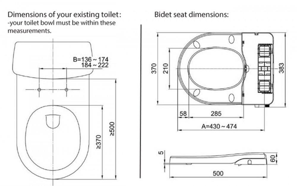 Maro D'Italia FP104 - Non-electric shower toilet dimensions