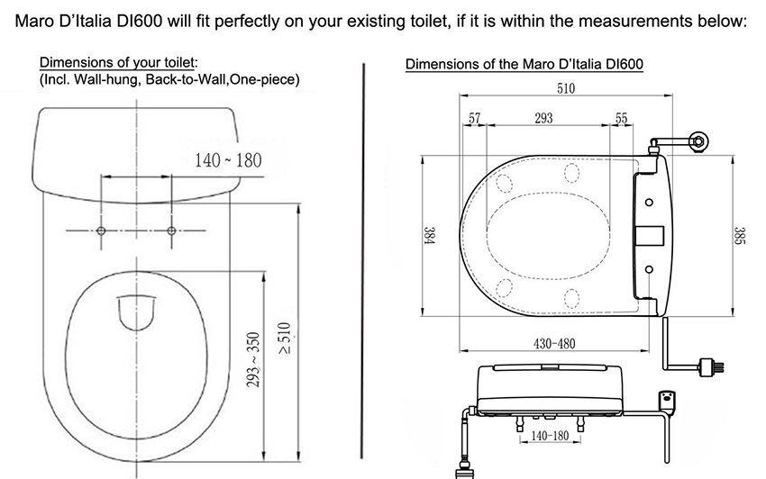 toilet dimensions from wall. Specifications  Maro D Italia DI600 TOTO NC CW762Y Wall hung Rimless toilet Tooaleta